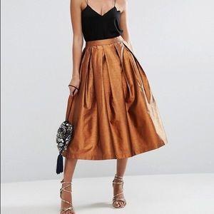 ASOS Metallic Prom Midi Skirt